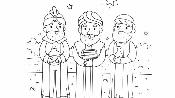 los tres Reys Magos, dibujos de los reyes magos para colorear para niños, páginas de colorear