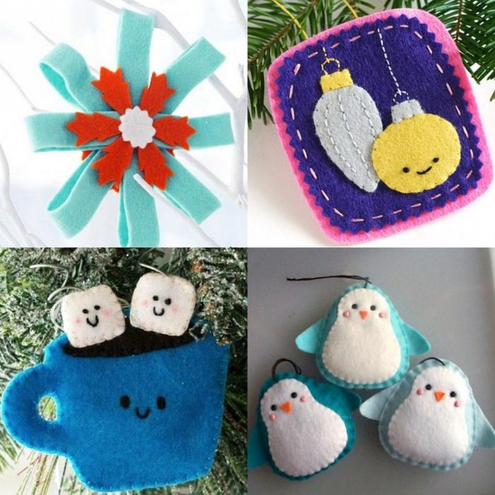 cuatro propuestas de adornos navideños hechos de fieltro, manualidades de Navidad para pequeños y adultos