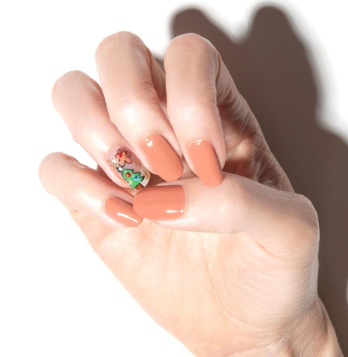 decoraciones de uñas fáciles para Navidad, uñas pintadas en un solo color, detalles decorativos navideños