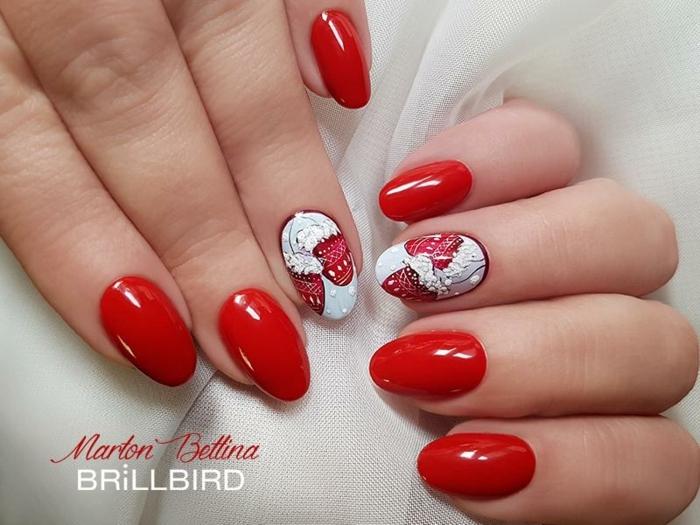 bonitos diseños de uñas de navidad, uñas largas de forma de almendra, decoraciones en blanco