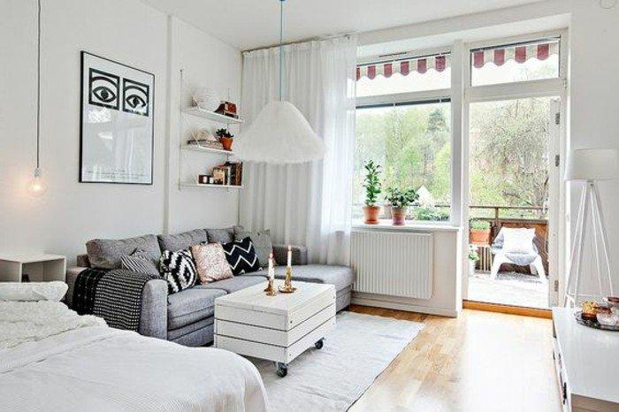 ideas para decorar pisos pequeños en estilo escandinavo, decoración en blanco y gris