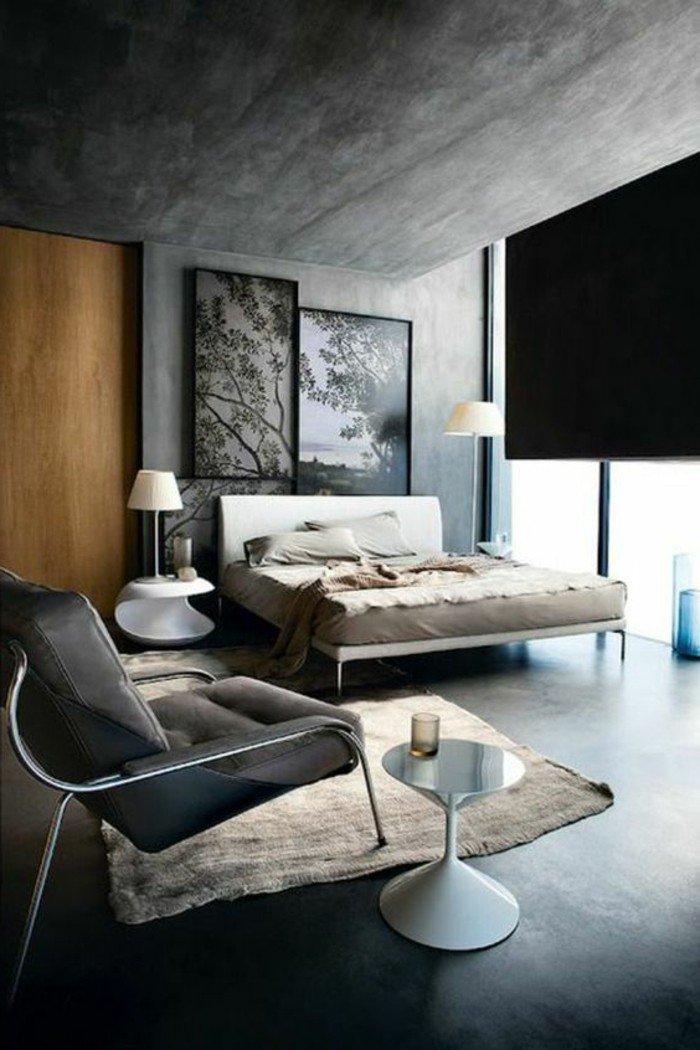 ideas de combinaciones con gris para la decoración de tu dormitorio, paredes de hormigón, cama con cabecero