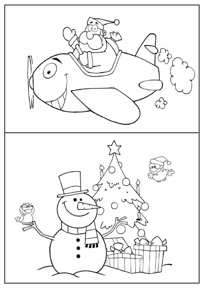dos dibujos navideños para pintar en colores, propuestas para los más pequeños, dibujos de Papá Noel y muñeco de nieve
