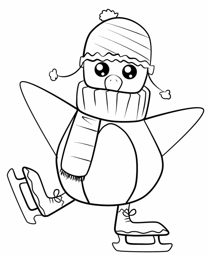 bonito pinguino para colorear, ideas de motivos navideños para pintar en colores, adorables fotos
