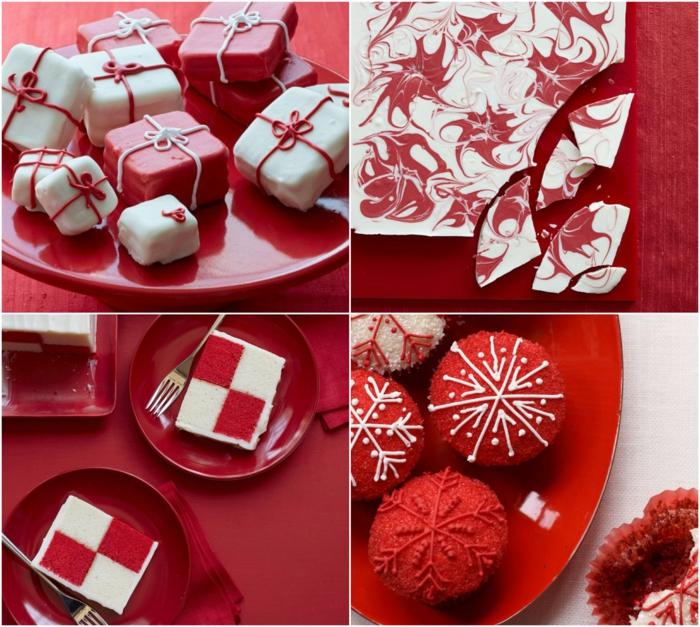 cuatro propuestas de dulces tipicos de navidad decoradas de manera encantadora, postres en blanco y rojo