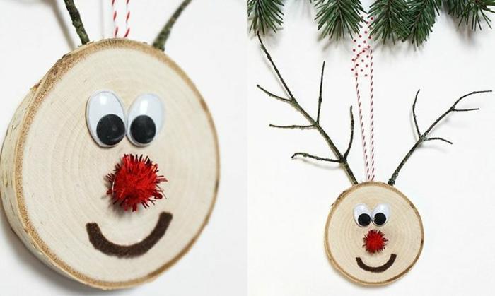preciosos adornos navideños DIY hechos de materiales reciclados, rodajas de madera decoradas