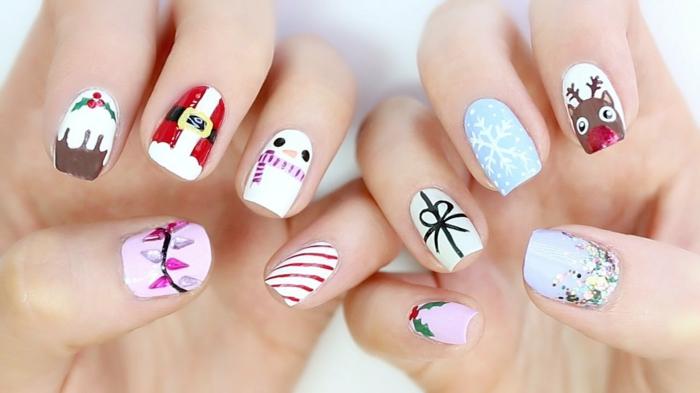 diseños super monos de uñas navideñas, uñas de forma cuadrada con diferente dibujo en cada uña