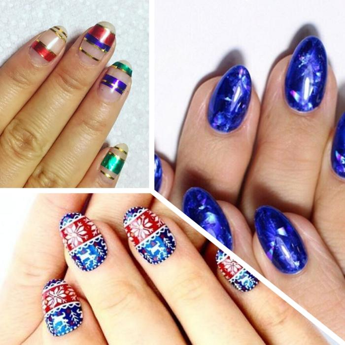 modelos de uñas navideñas en azul, preciosos dibujos y decoraciones de uñas de Navidad