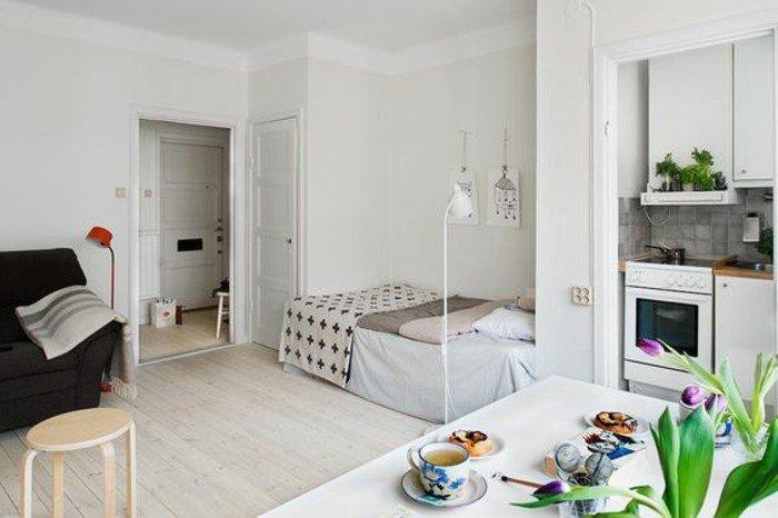 ideas sobre cómo decoracion pisos pequeños ikea, salón abierto a la cocina, pequeña cama