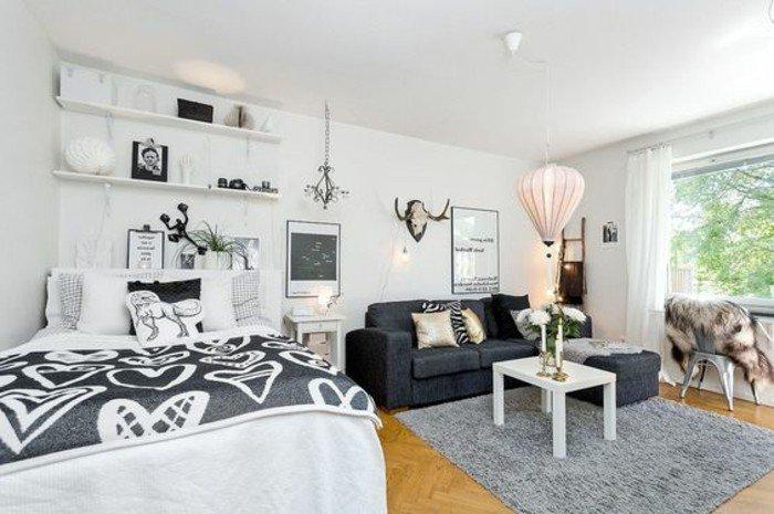 espacio de diseño abierto decorado en estilo escandinavo, decoracion pisos pequeños ikea