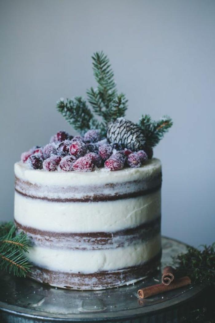 preciosas imagines de tartas para navidad con bonita decoración, tartas navideñas decoradas con frutas azucaradas