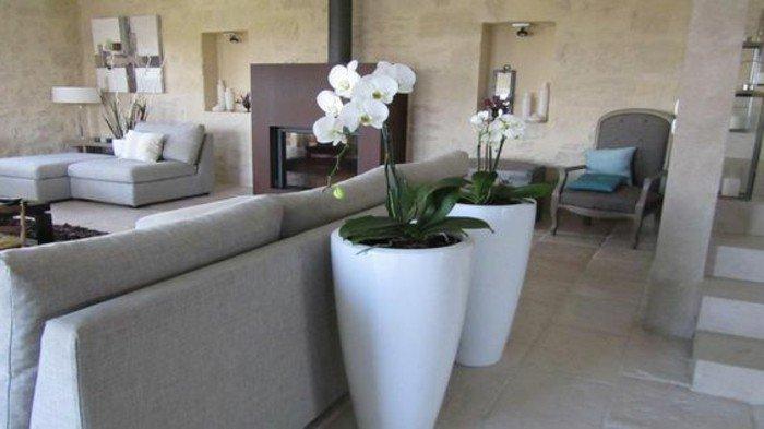cuáles son las mejores combinaciones con gris, sofás en gris claro, grandes jarrones con flores, paredes en beige