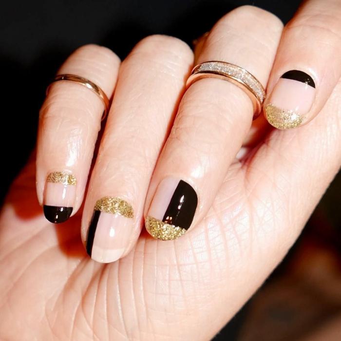 uñas ovaladas con partes en negro y dorado, como hacer uñas de gel con decoraciones navideñas