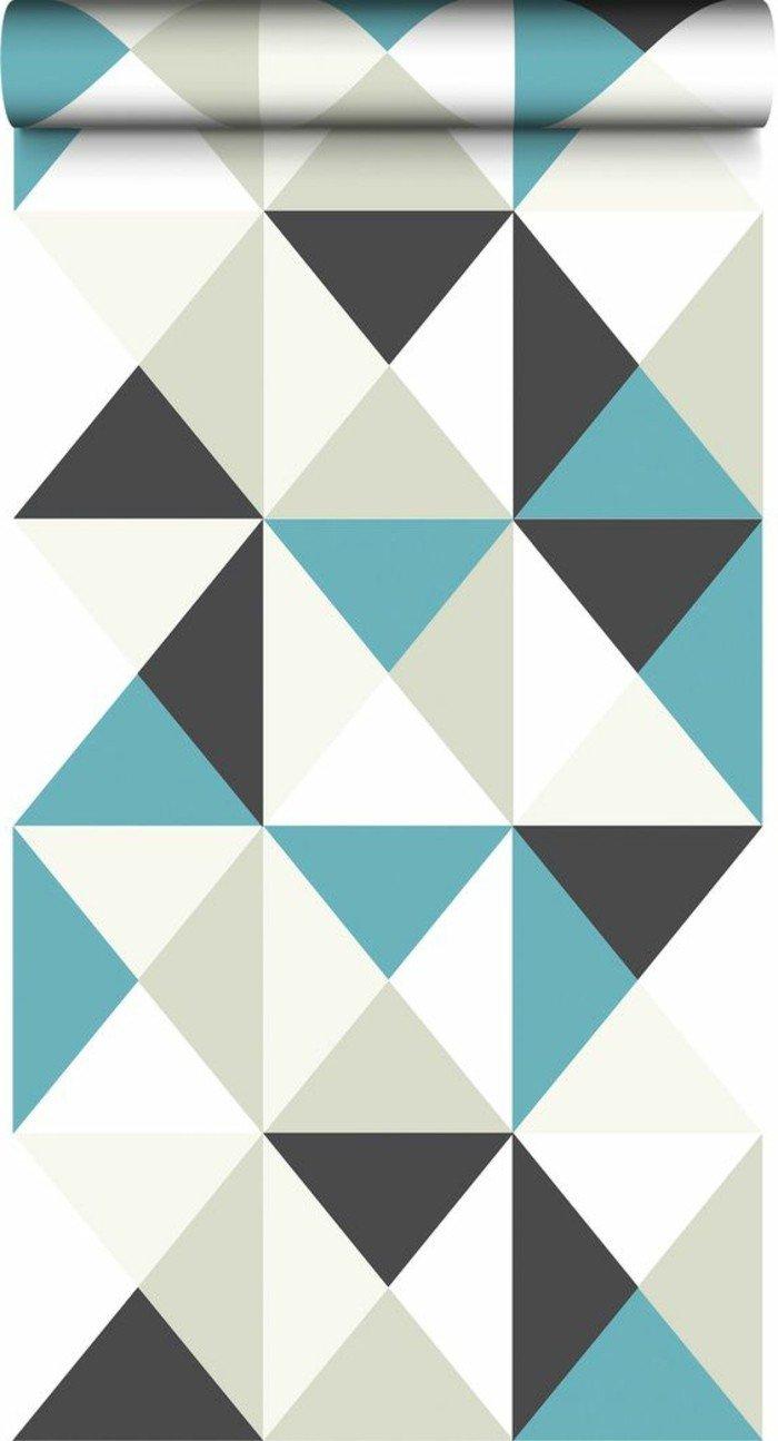 ideas sobre con que color puedo combinar el gris, papel pintado en triángulos en blanco, gris y azul