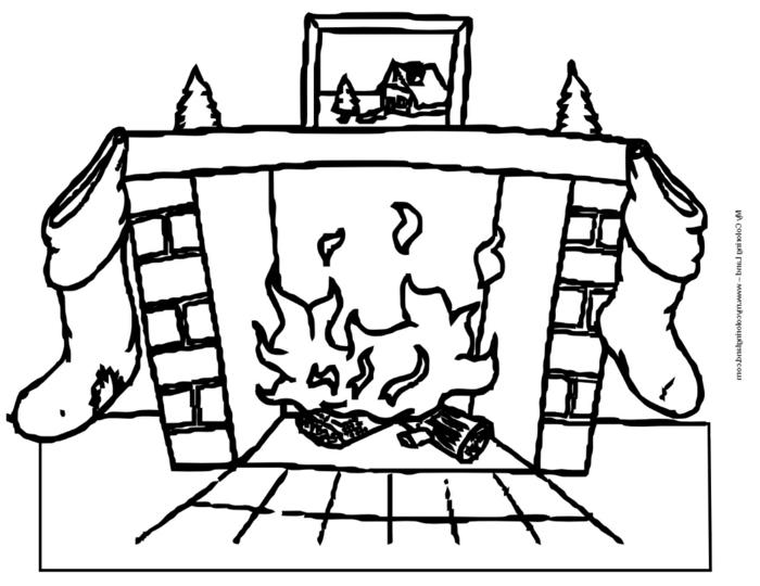 dibujo navideño acogedor, chimenea de leña con decoración navideña, ideas de dibujos fáciles para copiar