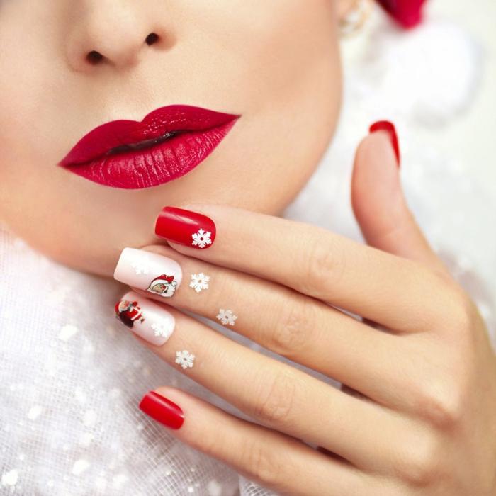 uñas largas en blanco y rojo con detalles pequeños, como adornar tus uñas con pegatinas