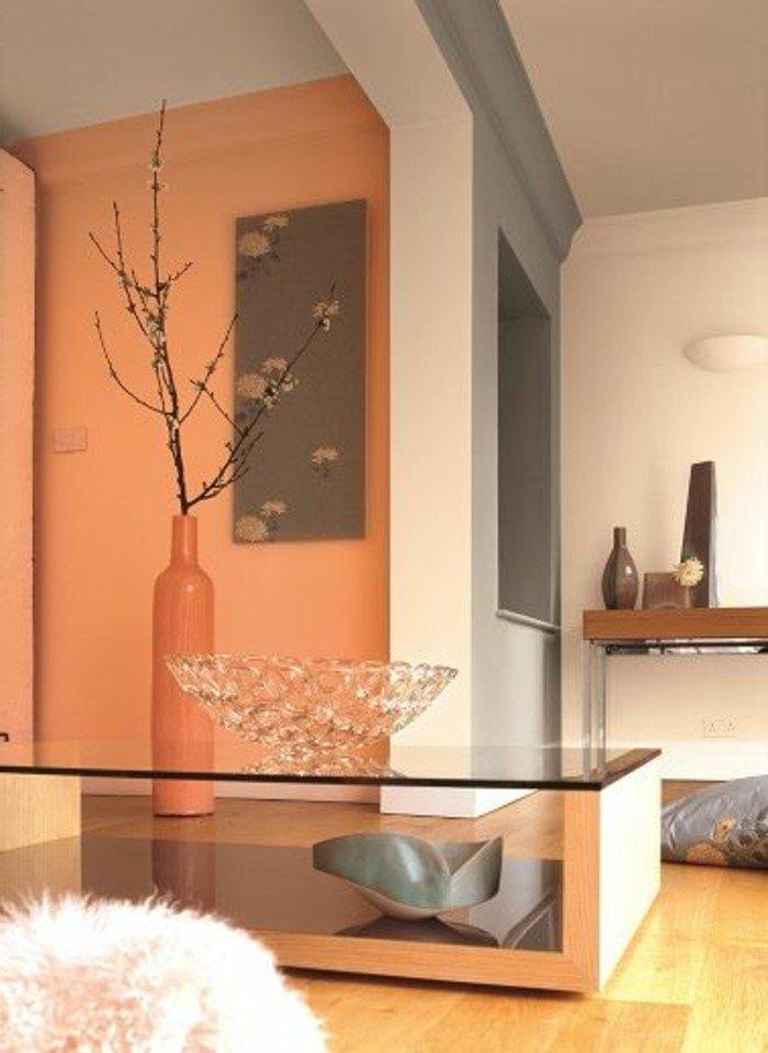 imágines de interiores, con que color puedo combinar el gris, paredes en blanco, gris y color naranja