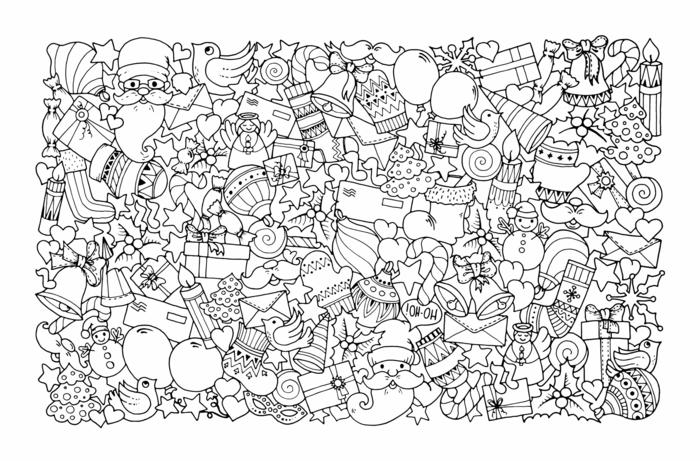 ejemplos de dibujos navideños para descargar y colorear para adultos, páginas de colorear