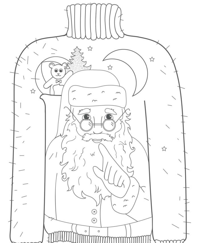 las propuestas más originales de dibujos navideños para colorear, jersey con motivos navideños