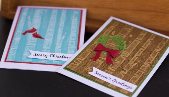 preciosas postales de navidad hechas a mano super fáciles de hacer, tarjetas DIY para Navidad