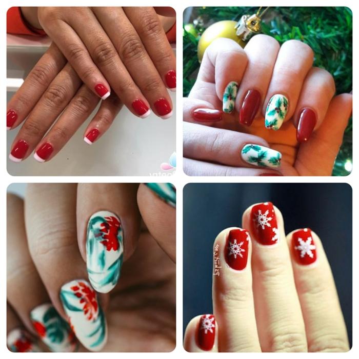 bonitos modelos de uñas en rojo y verde, manicura francesa en rojo, decoraciones navideñas originales