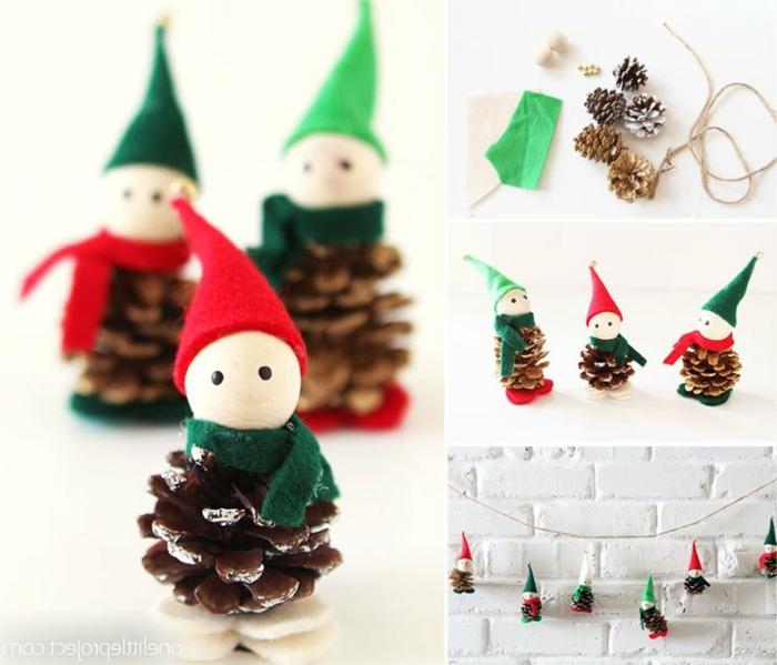 ideas de adornos navideños reciclados de materiales naturales, muñequitos navideños hechos de piñas