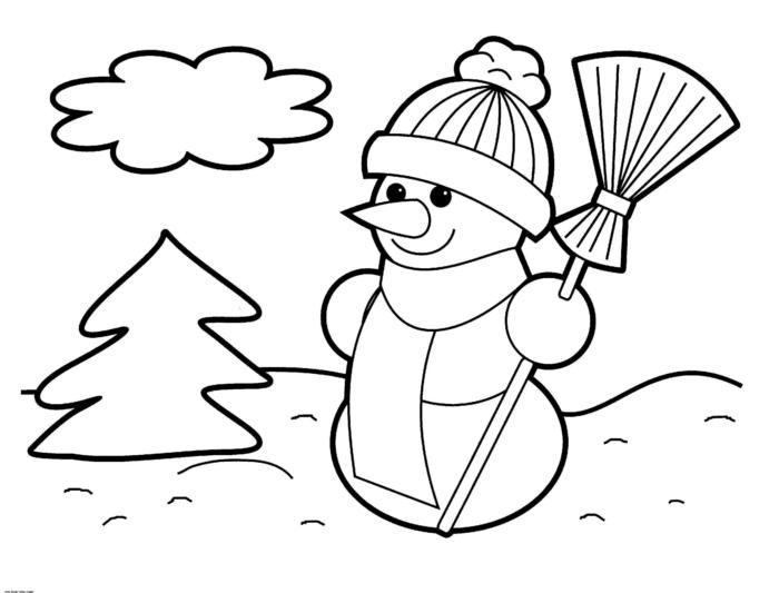 propuestas de dibujos navideños para los niños más pequeños, paisaje invernal con muñeco de nieve