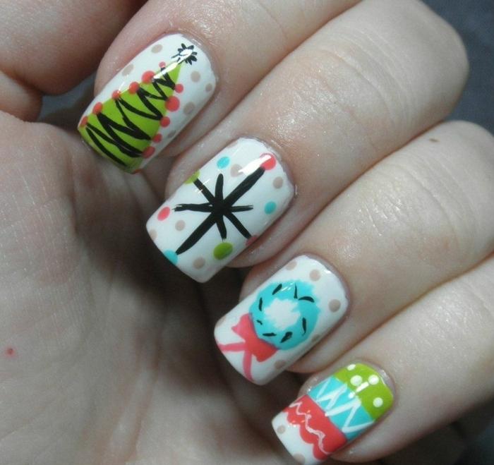 uñas pintadas en blanco con decoraciones coloridas, diseños fáciles y bonitos para hacer en casa