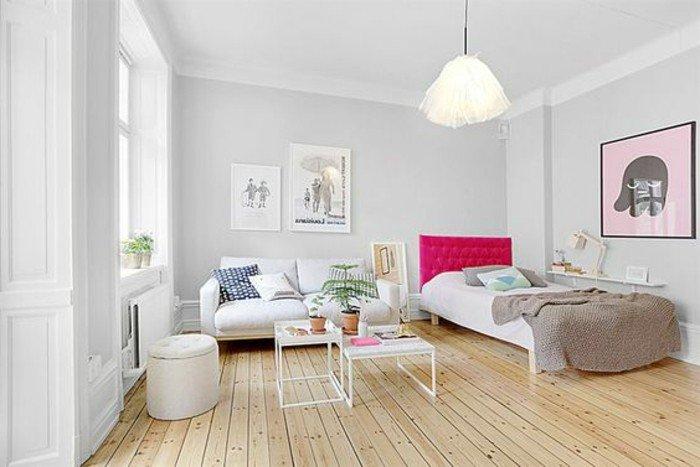 ejemplos sobre como decorar una habitacion de estudio, suelo de parquet, paredes en gris claro
