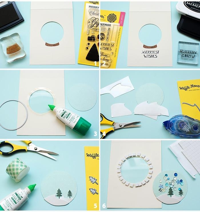 pasos para hacer bonitas tarjetas de Navidad en imágines, postales de navidad hechas a mano