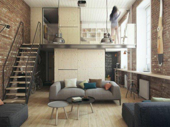como decorar un estudio paso a paso, piso decorado en tonos oscuros terrestres, paredes de ladrillo, decoracion estilo industrial