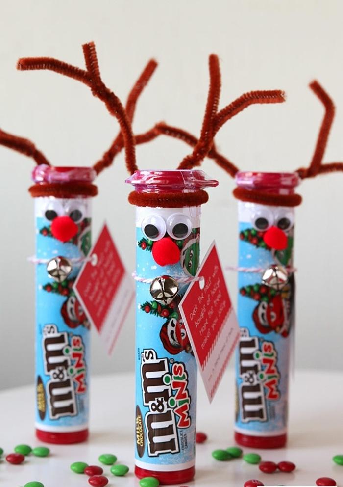 originales propuestas de regalos amigo invisible manual, cajas de caramelos decoradas con renos