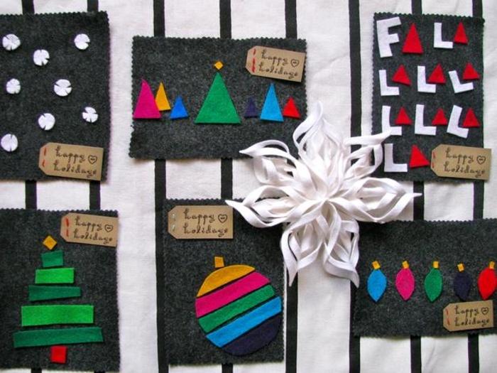 super originales tarjetas de fieltro, tarjetas de felicitacion de navidad paso a paso, originales ideas