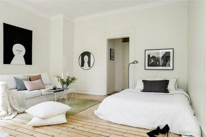 habitación decorada en colores claros en estilo escandinavo, como decorar un estudio paso a paso