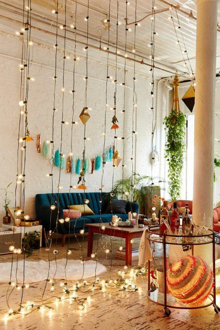 como decorar una habitacion de estudio en estilo bohemio, ideas para separar el espacio en un piso de diseño abierto