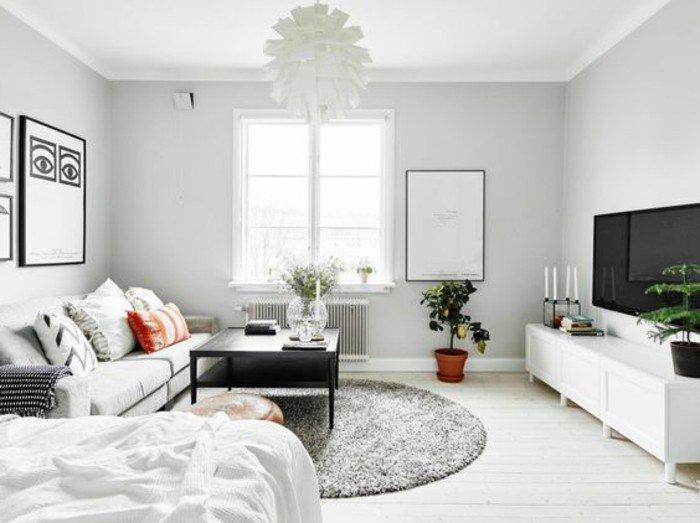 ideas de decoracion pisos pequeños ikea en colores claros, espacio decorado en gris claro