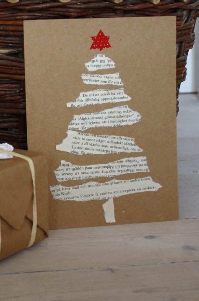 preciosas ideas de tarjetas DIY hechas con reciclaje, tarjetas navideñas manualidades en imágines