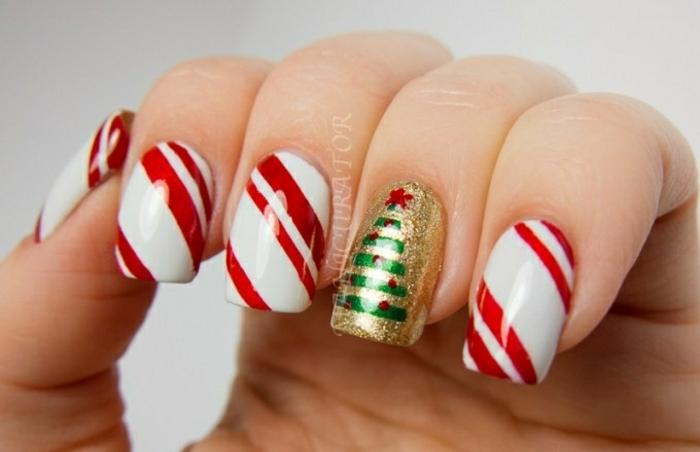 diseños de uñas de Navidad fáciles de hacer y bonitos, uñas de forma cuadrada en blanco, rojo, verde y dorado
