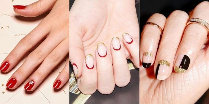 bonitos diseños de uñas navideñas con pequeños detalles decorativos, uñas de Navidad fáciles de hacer
