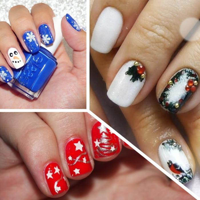 tres propuestas de uñas navideñas originales, uñas de longitud media de forma cuadrada