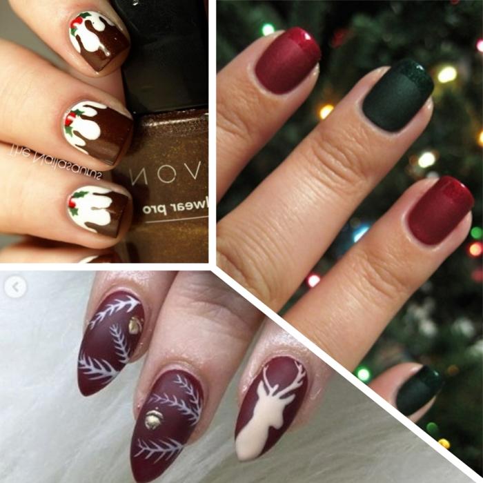 tres elegantes propuestas de uñas en gel decoradas en rojo, verde y marrón, uñas para Navidad