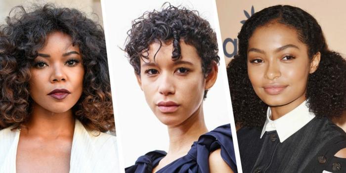 tres propuestas de cortes de pelo rizado modernos, últimas tendencias peinados y cortes en tendenia