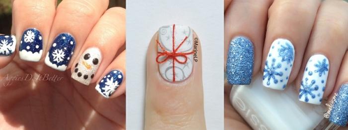 tres bonitas propuestas de manicura navideñas, uñas largas de forma cuadrada con bonitas decoraciones