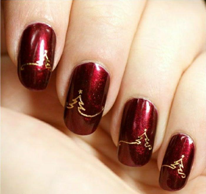 uñas largas de forma cuadrada con puntas rodeadas, colores de esmaltes de uñas clásicos para Navidad