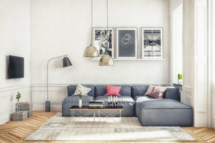 preciosas fotos de habitaciones pintadas en dos colores, sofá en color gris oscuro, paredes blancas
