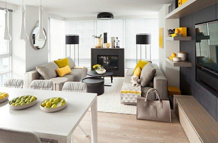 bonitas fotos de habitaciones pintadas en dos colores, grande salón decorado en blanco, gris y amarillo