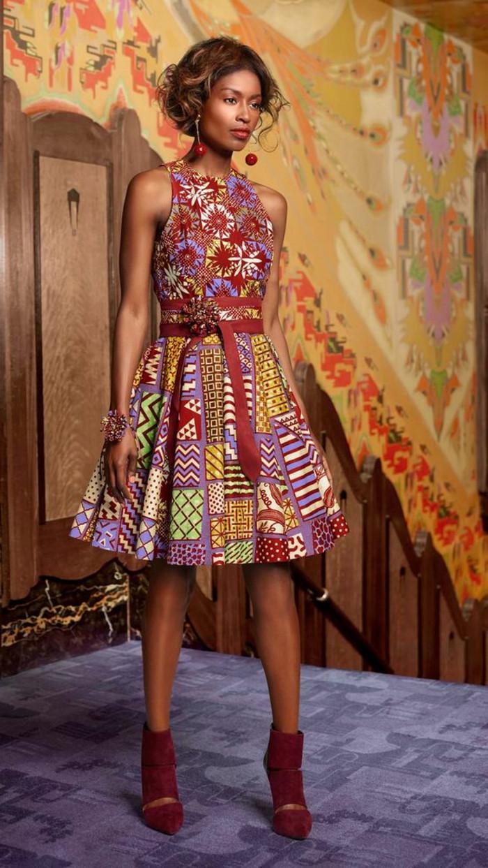 diseño bonito de vestido con corte en A en colores cálidos, vestidos inspirados en la tradición y ropa africana