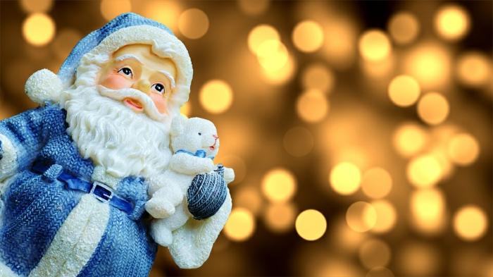 papa noel en blanco y azul, bonito adorno navideño, imagines de navidad descargables gratis