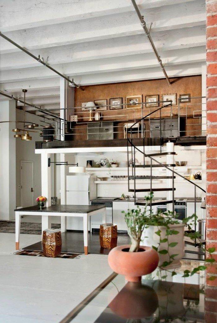 ideas de decoración salón pequeño estilo industrial, salón decorado en gris, marron, blanco y negro