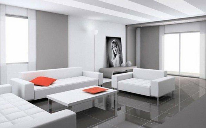 salón minimalista en blanco y gris con toques en color naranja, fotos de habitaciones pintadas en dos colores